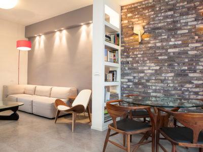 contemporary living room brick